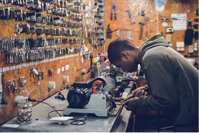 a locksmith at work